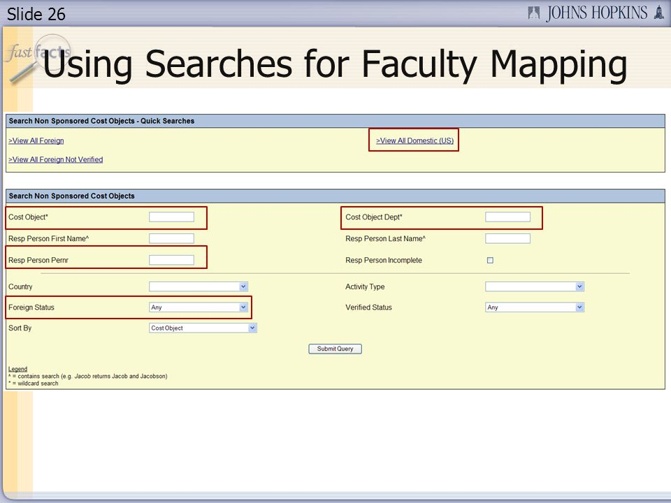 Slide 26 Using Searches for Faculty Mapping