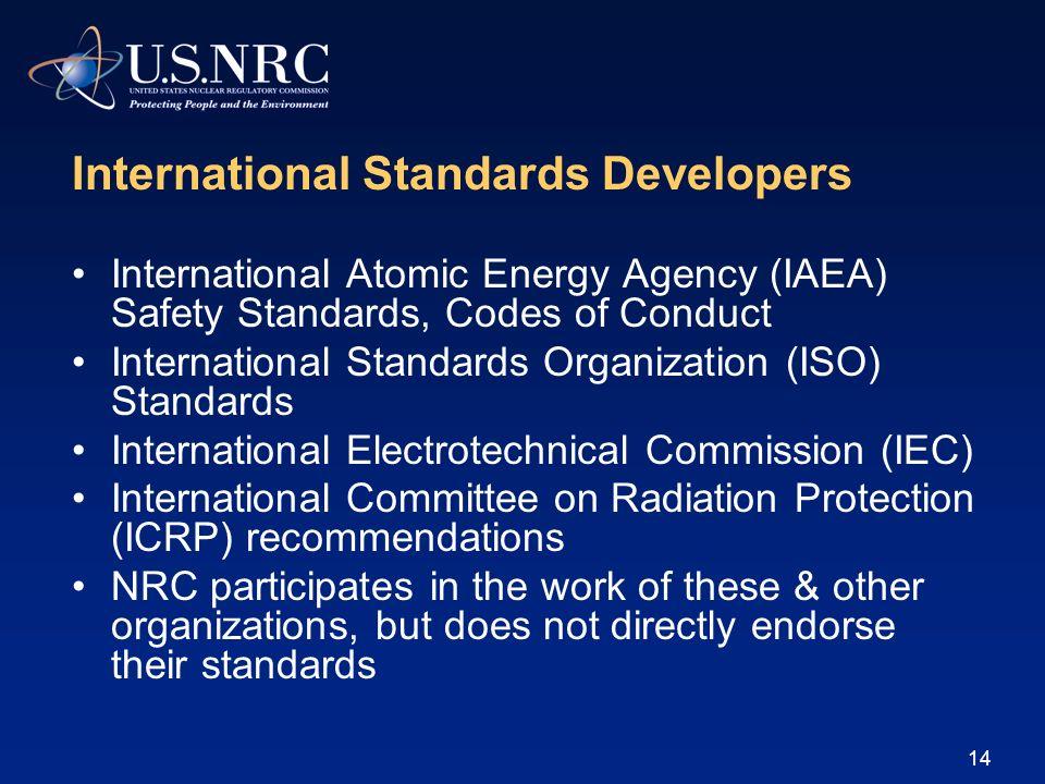 14 International Standards Developers International Atomic Energy Agency (IAEA) Safety Standards, Codes of Conduct International Standards Organizatio