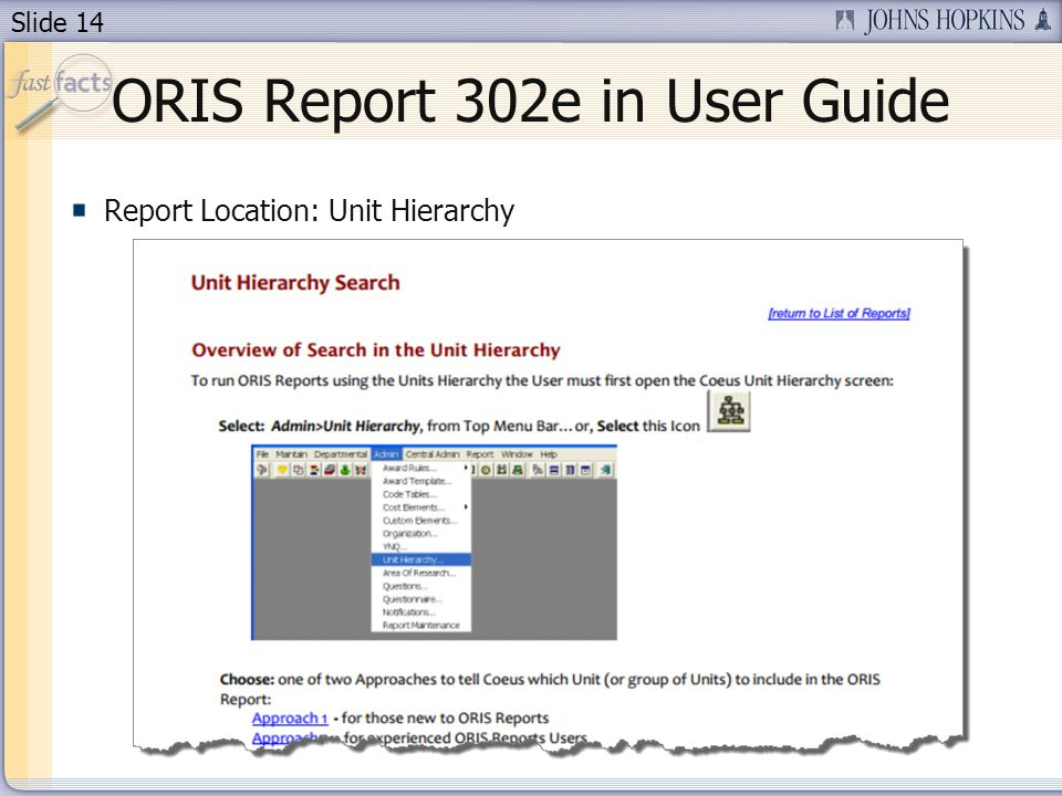 Slide 14 ORIS Report 302e in User Guide Report Location: Unit Hierarchy