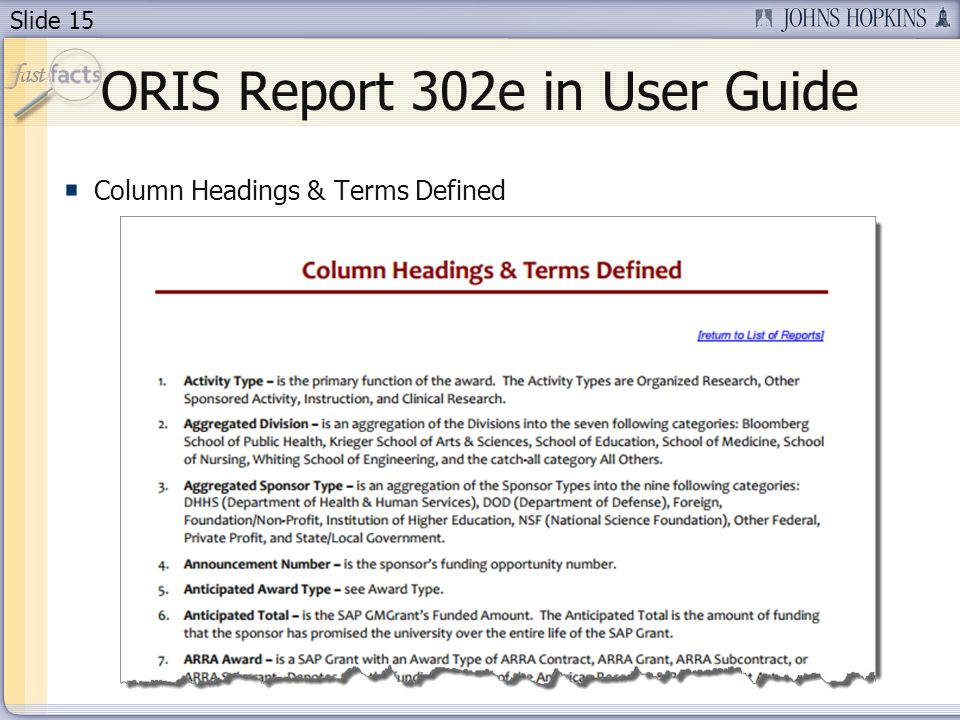 Slide 15 ORIS Report 302e in User Guide Column Headings & Terms Defined
