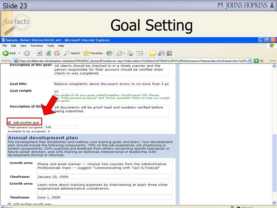 Slide 23 Goal Setting