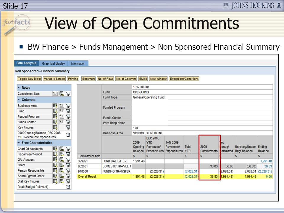 Slide 17 View of Open Commitments BW Finance > Funds Management > Non Sponsored Financial Summary