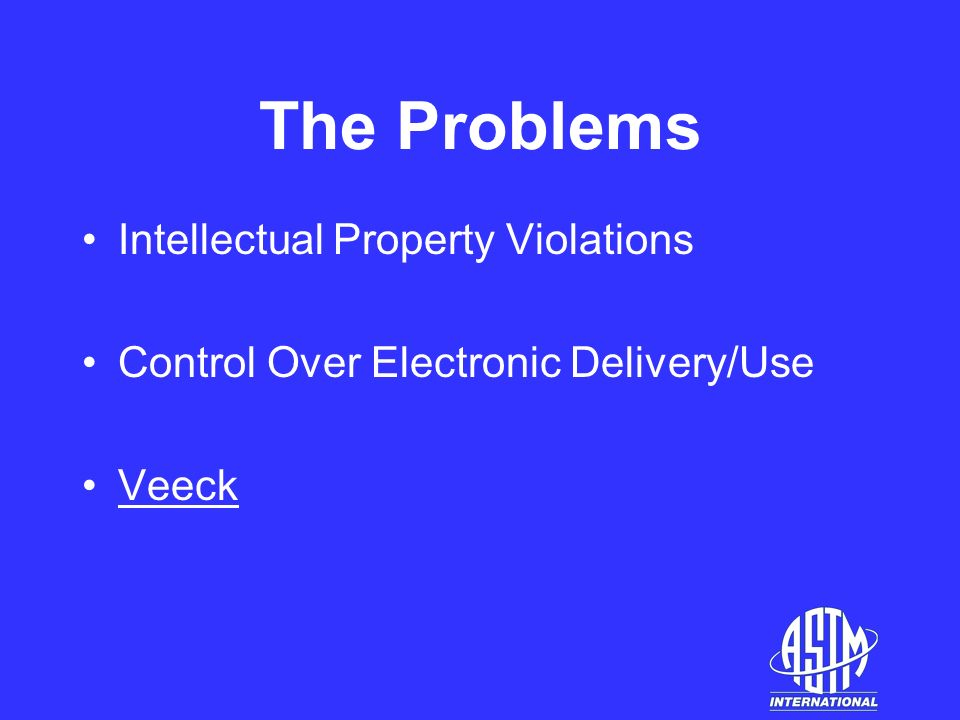 The Problems Intellectual Property Violations Control Over Electronic Delivery/Use Veeck