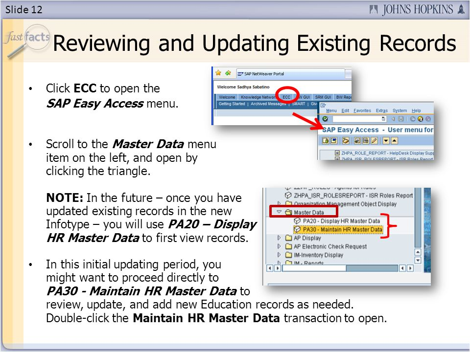 Click ECC to open the SAP Easy Access menu.