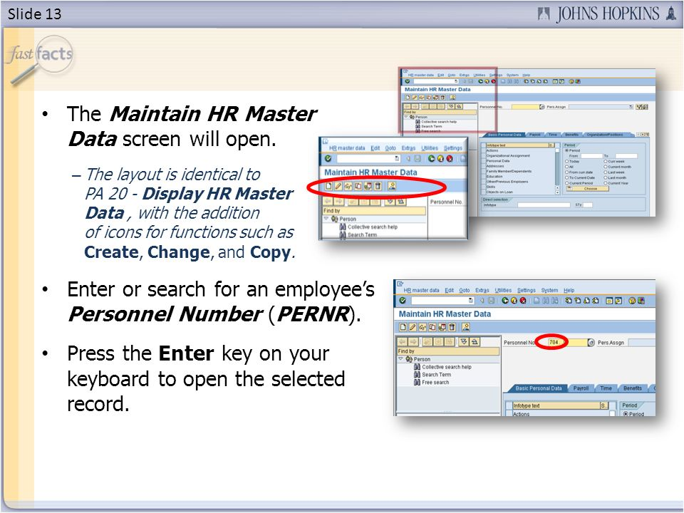 The Maintain HR Master Data screen will open.