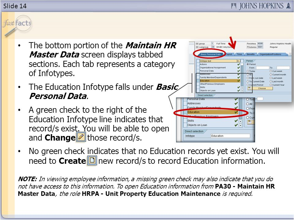The bottom portion of the Maintain HR Master Data screen displays tabbed sections.