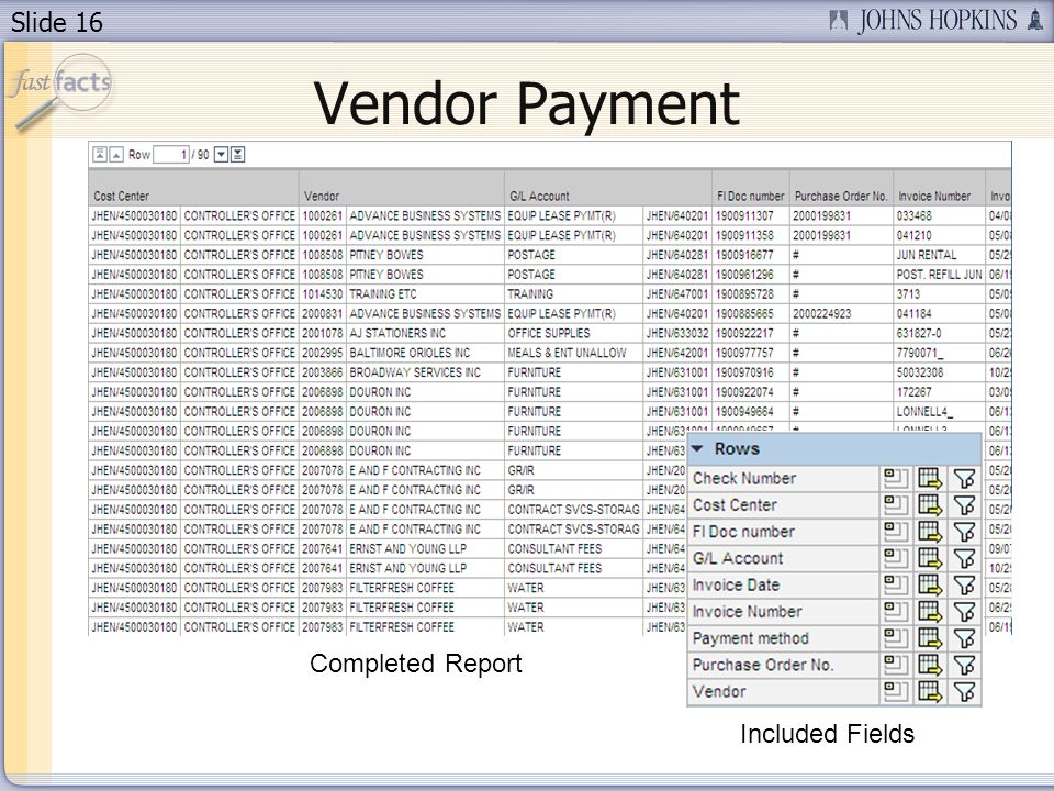 Slide 16 Completed Report Vendor Payment Included Fields