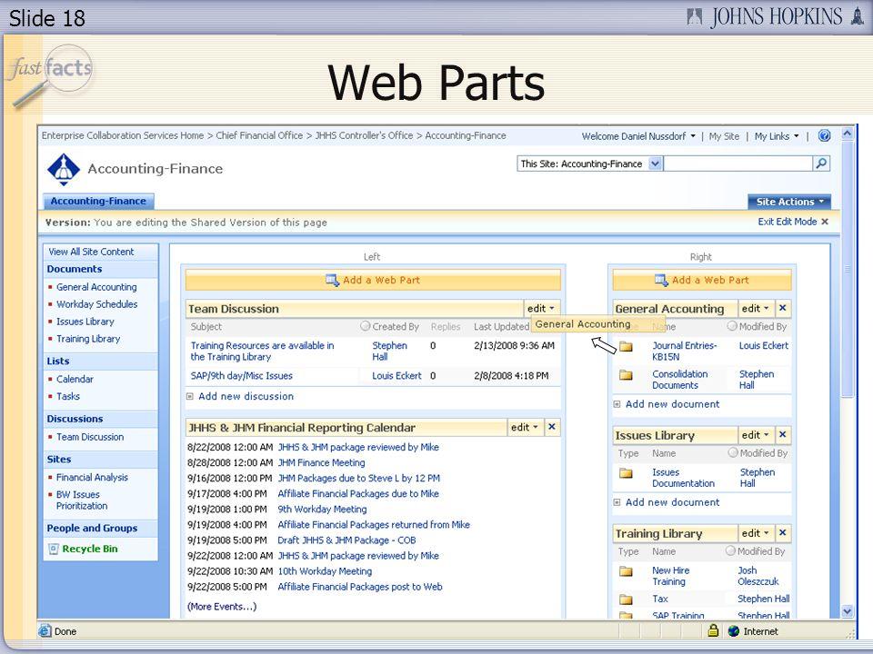 Slide 18 Web Parts