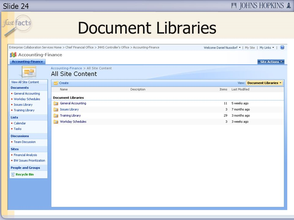 Slide 24 Document Libraries