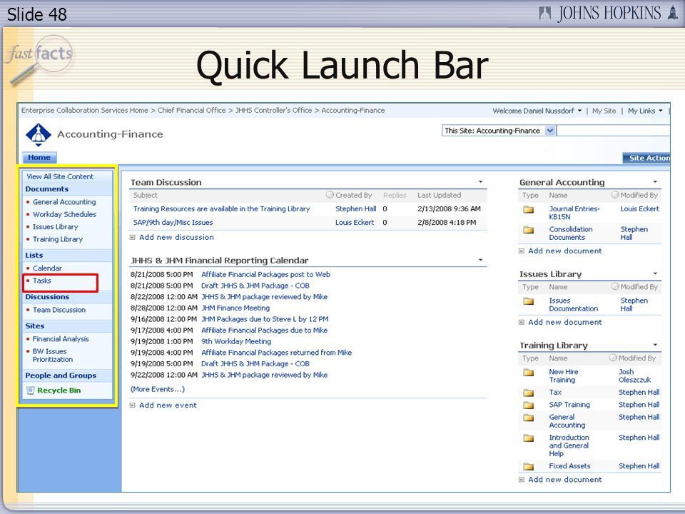 Slide 48 Quick Launch Bar