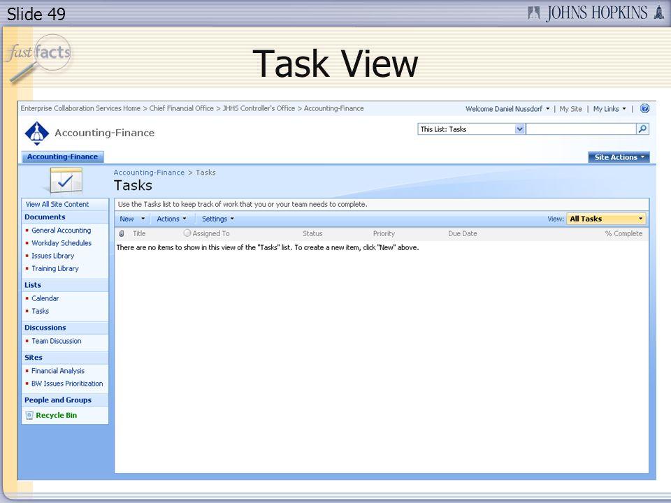 Slide 49 Task View