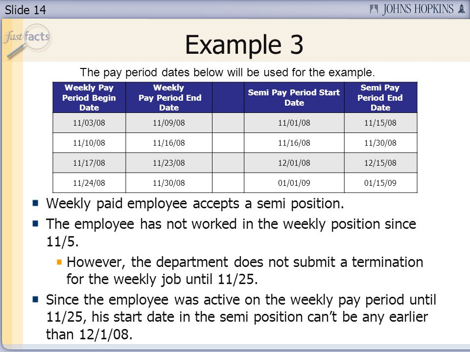 Slide 14 Example 3 Weekly paid employee accepts a semi position.