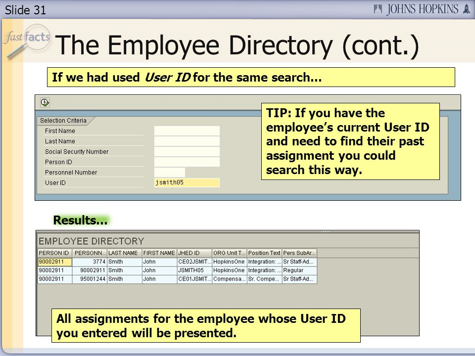 Slide 31 The Employee Directory (cont.) If we had used User ID for the same search… All assignments for the employee whose User ID you entered will be presented.