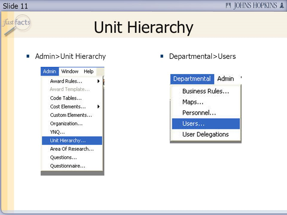 Slide 11 Unit Hierarchy Admin>Unit HierarchyDepartmental>Users