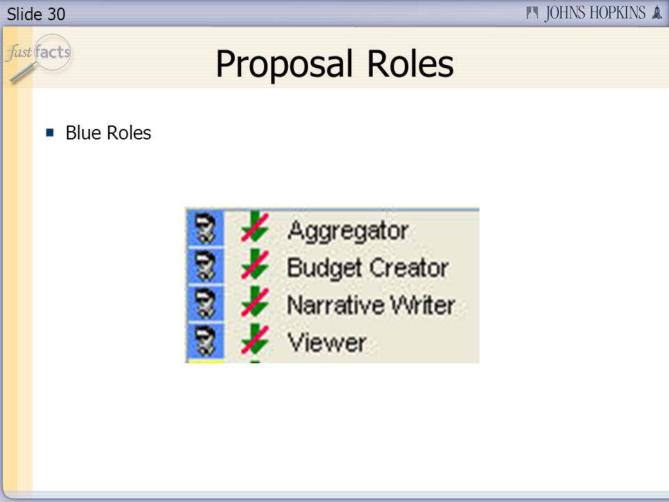 Slide 30 Proposal Roles Blue Roles