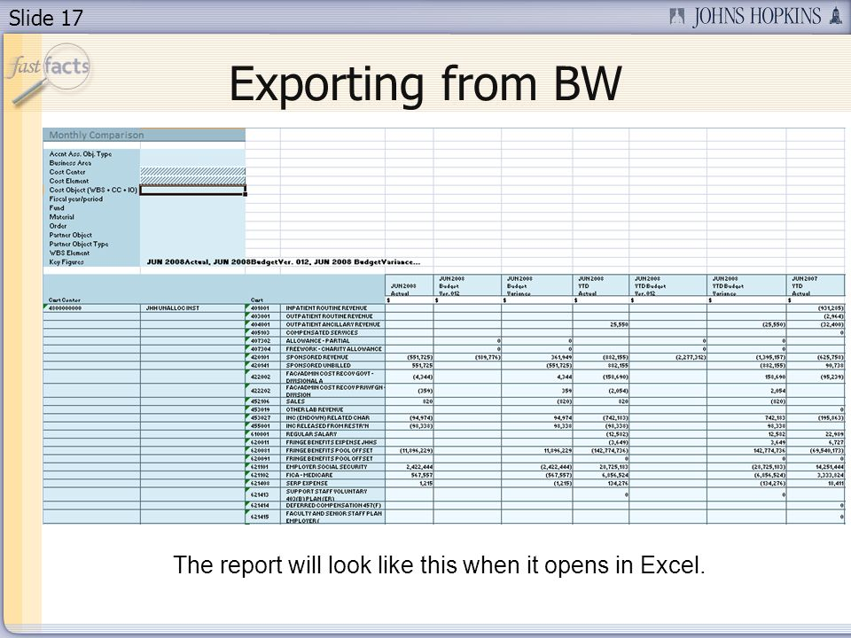 Slide 17 The report will look like this when it opens in Excel. Exporting from BW