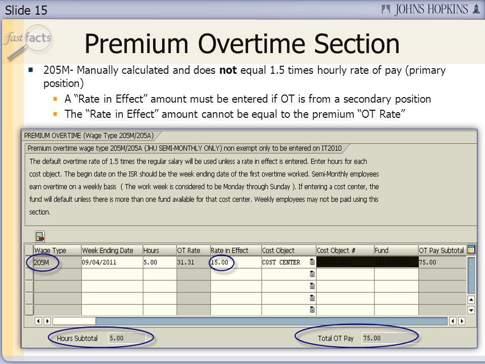 Slide 15 Premium Overtime Section 205M- Manually calculated and does not equal 1.5 times hourly rate of pay (primary position) A Rate in Effect amount must be entered if OT is from a secondary position The Rate in Effect amount cannot be equal to the premium OT Rate