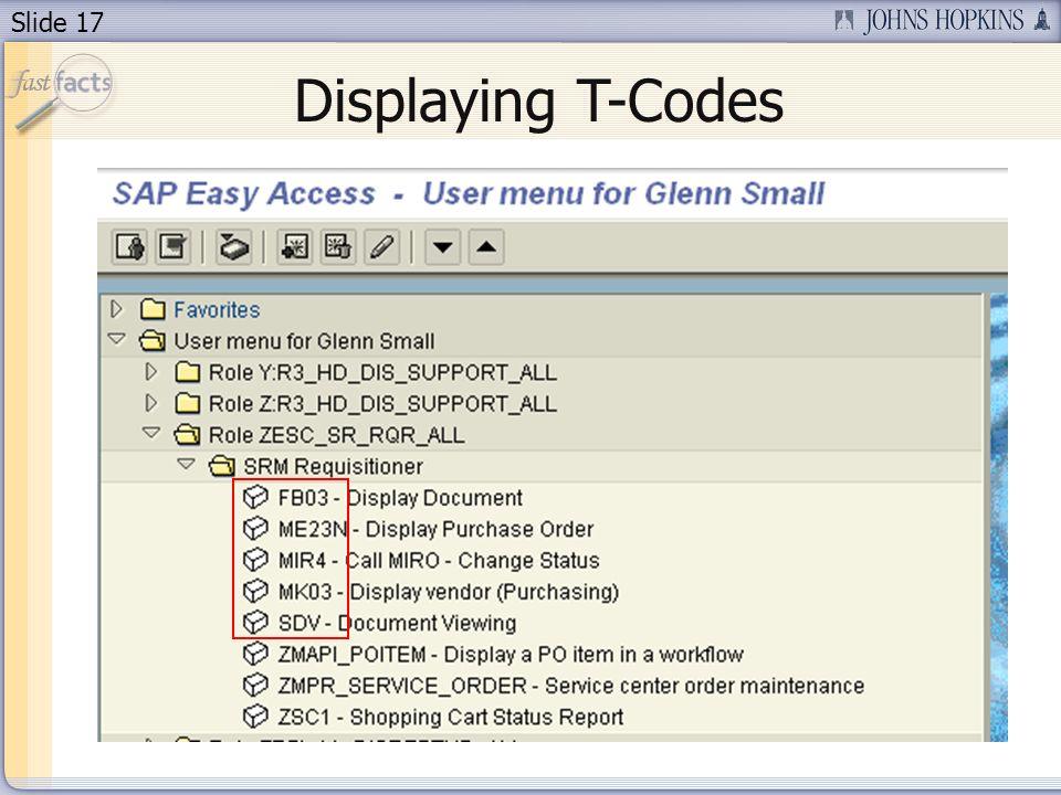 Slide 17 Displaying T-Codes