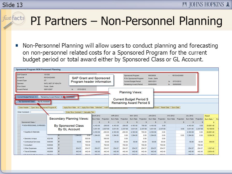 Slide 13 Non-Personnel Planning will allow users to conduct planning and forecasting on non-personnel related costs for a Sponsored Program for the current budget period or total award either by Sponsored Class or GL Account.