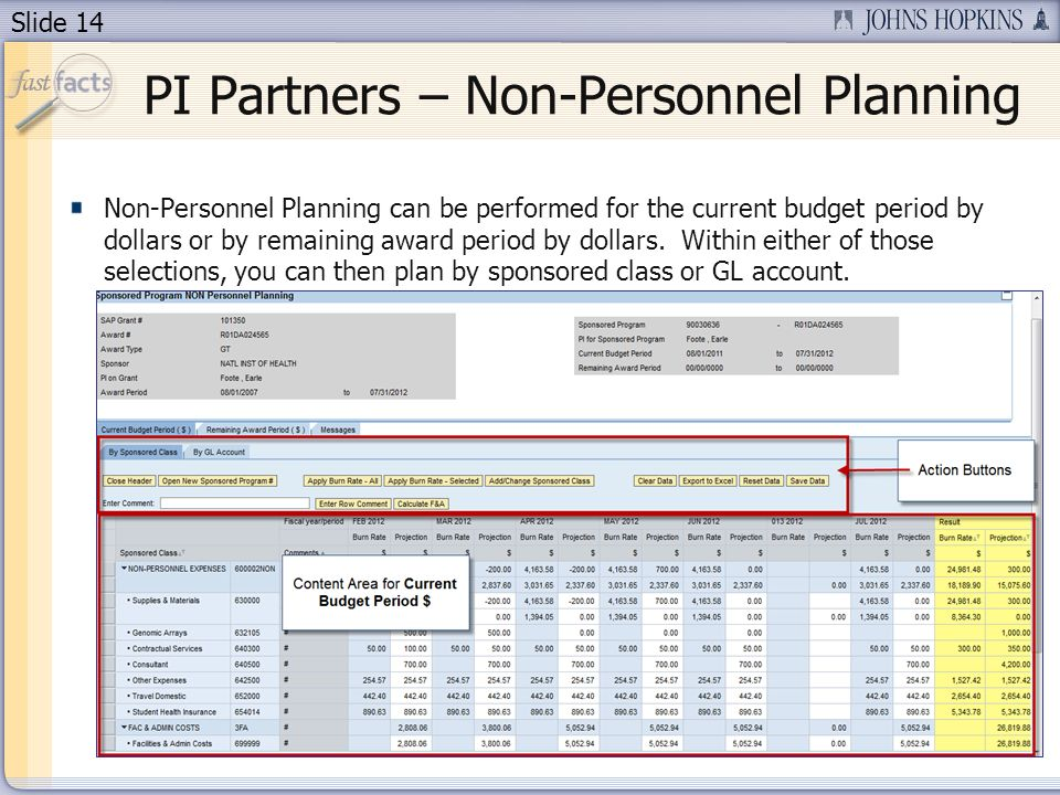 Slide 14 Non-Personnel Planning can be performed for the current budget period by dollars or by remaining award period by dollars.