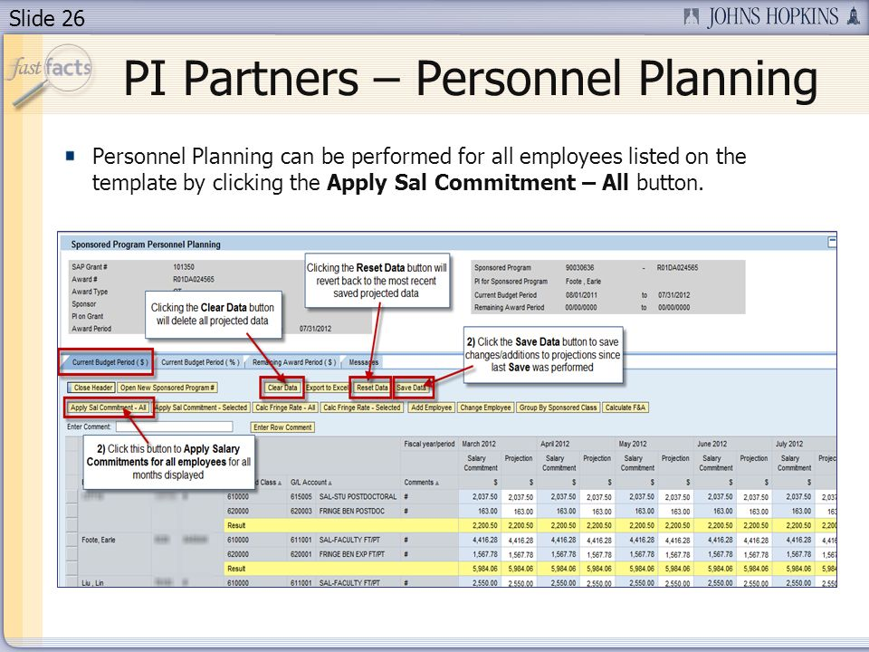 Slide 26 Personnel Planning can be performed for all employees listed on the template by clicking the Apply Sal Commitment – All button. PI Partners –
