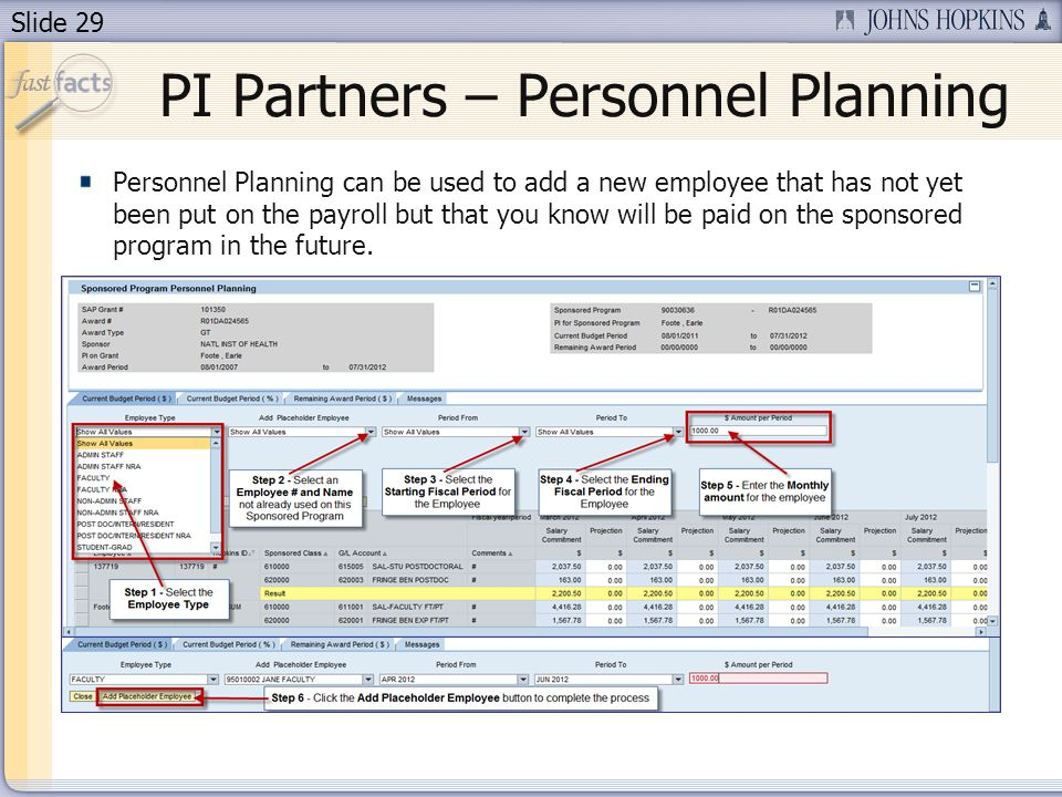 Slide 29 Personnel Planning can be used to add a new employee that has not yet been put on the payroll but that you know will be paid on the sponsored