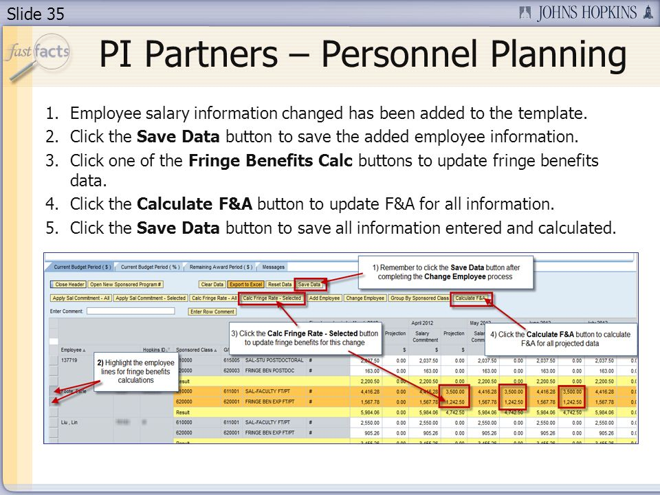 Slide 35 1.Employee salary information changed has been added to the template. 2.Click the Save Data button to save the added employee information. 3.