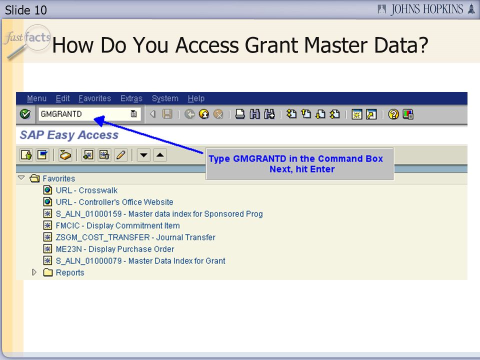 Slide 10 How Do You Access Grant Master Data