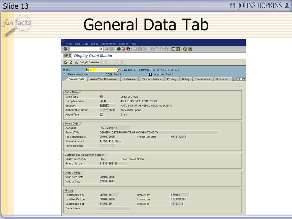 Slide 13 General Data Tab