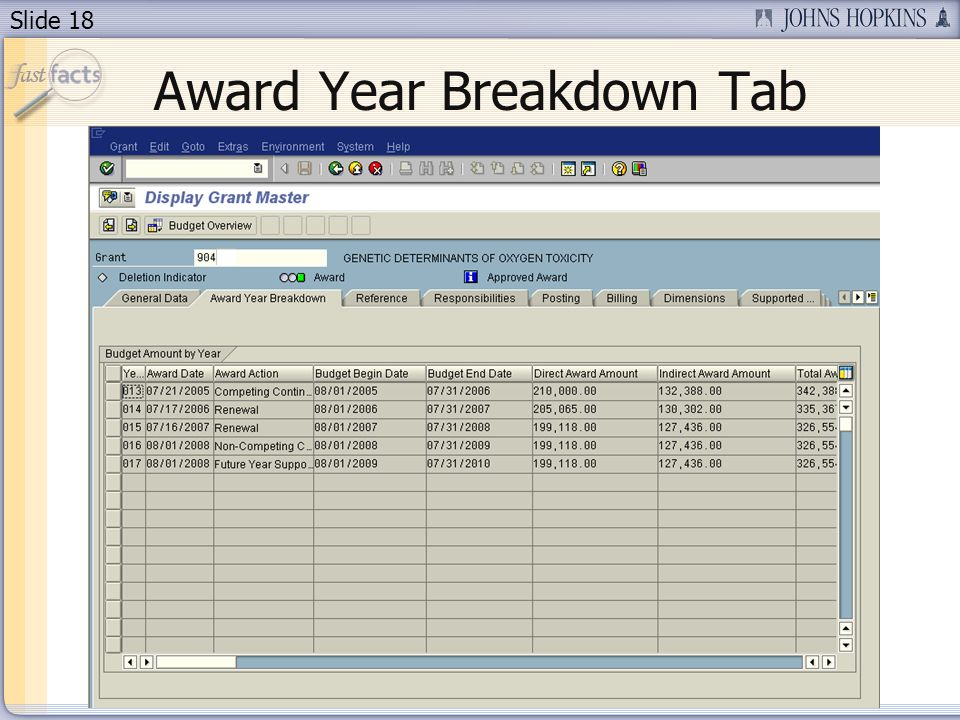 Slide 18 Award Year Breakdown Tab