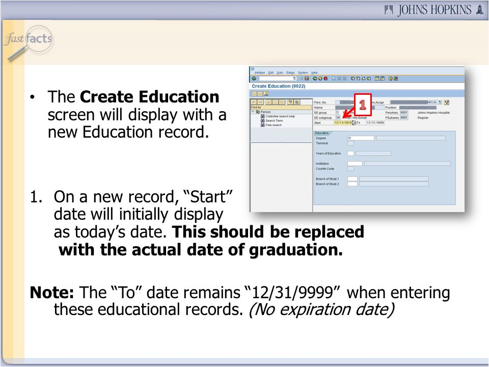 The Create Education screen will display with a new Education record.