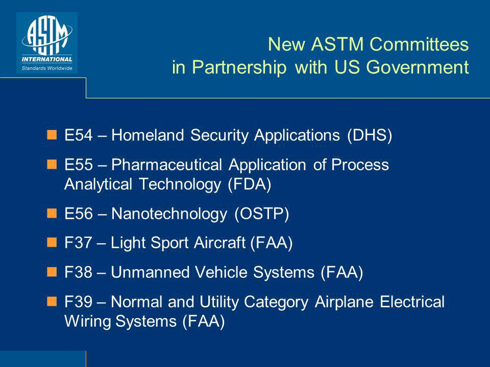 New ASTM Committees in Partnership with US Government E54 – Homeland Security Applications (DHS) E55 – Pharmaceutical Application of Process Analytical Technology (FDA) E56 – Nanotechnology (OSTP) F37 – Light Sport Aircraft (FAA) F38 – Unmanned Vehicle Systems (FAA) F39 – Normal and Utility Category Airplane Electrical Wiring Systems (FAA)