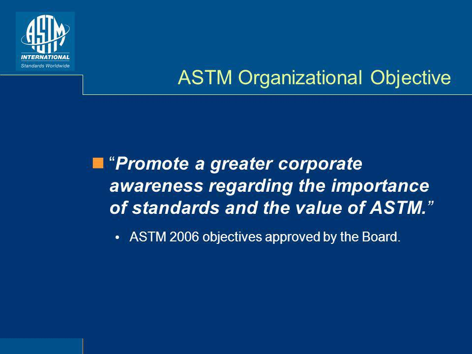 ASTM Organizational Objective Promote a greater corporate awareness regarding the importance of standards and the value of ASTM. ASTM 2006 objectives