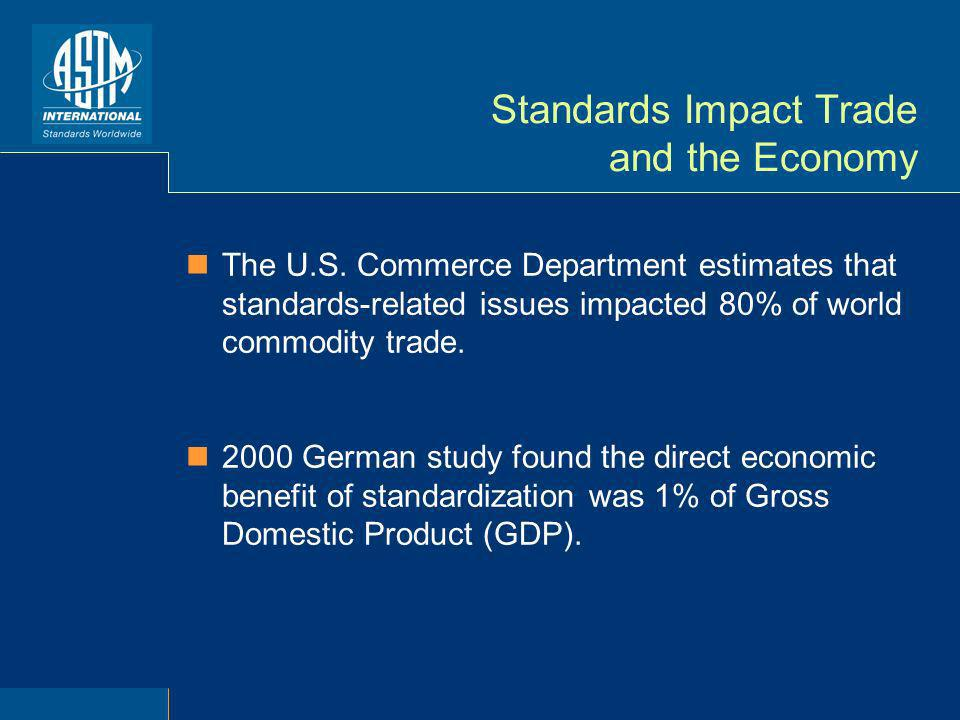 Standards Impact Trade and the Economy The U.S. Commerce Department estimates that standards-related issues impacted 80% of world commodity trade. 200