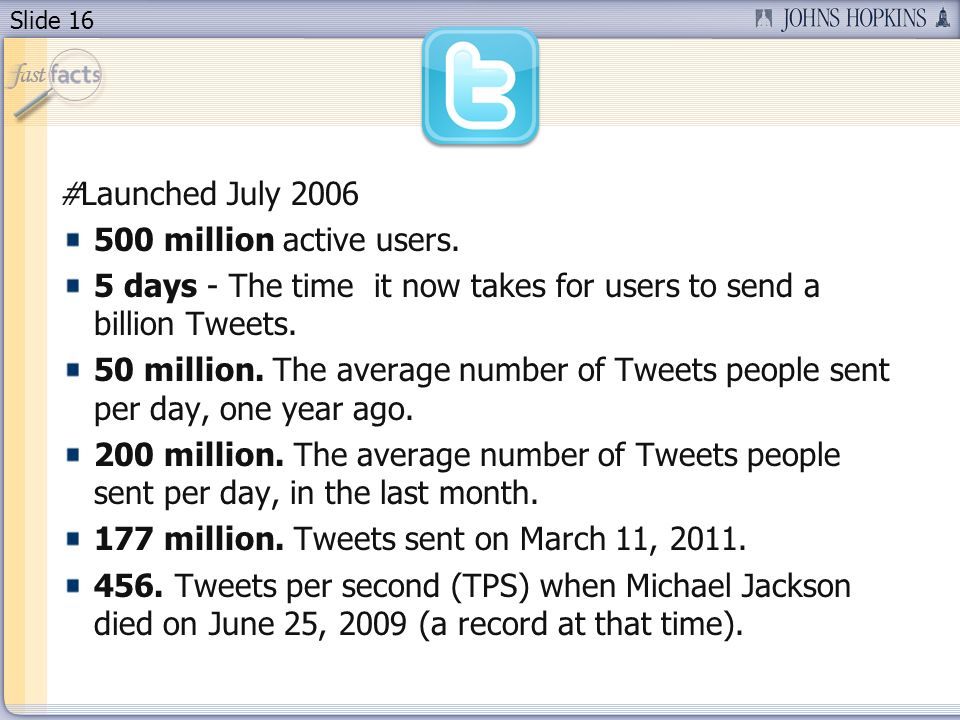 Slide 16 #Launched July 2006 500 million active users.