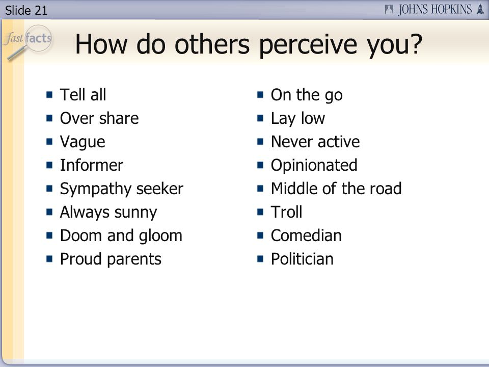 Slide 21 How do others perceive you.