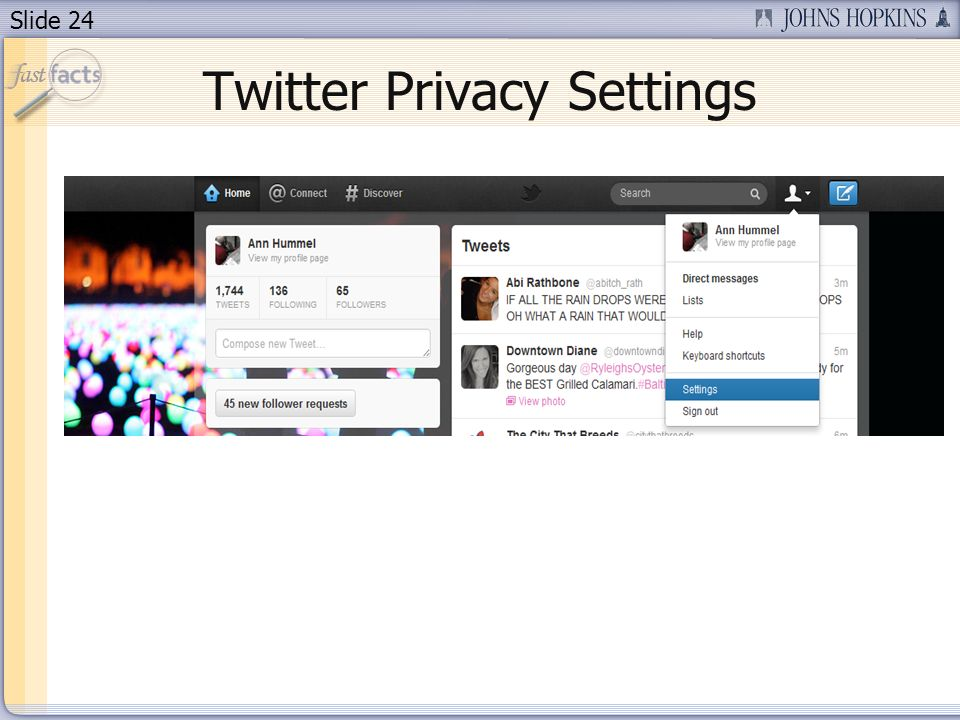 Slide 24 Twitter Privacy Settings