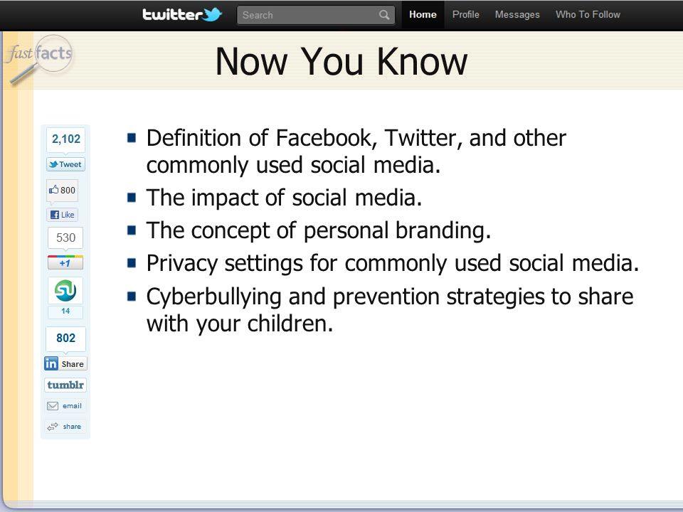 Slide 44 Now You Know Definition of Facebook, Twitter, and other commonly used social media.