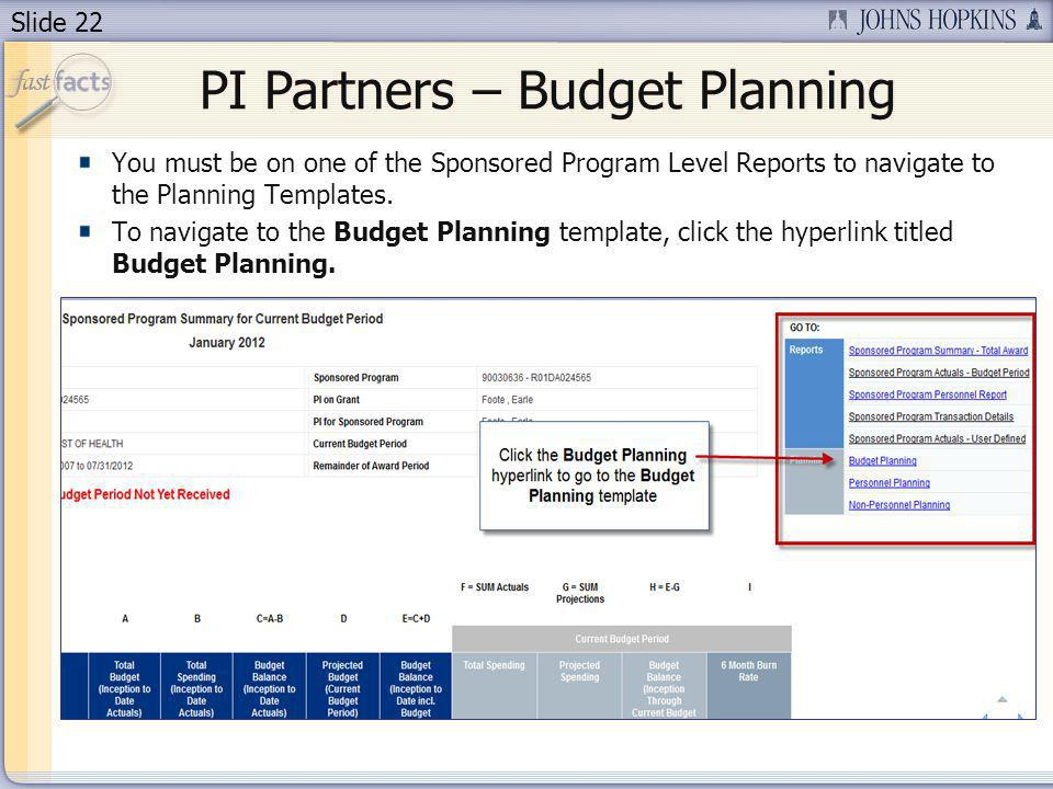 Slide 22 PI Partners – Budget Planning You must be on one of the Sponsored Program Level Reports to navigate to the Planning Templates.