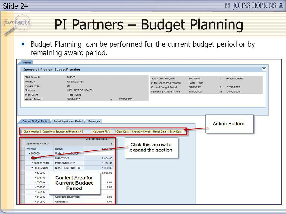 Slide 24 PI Partners – Budget Planning Budget Planning can be performed for the current budget period or by remaining award period.