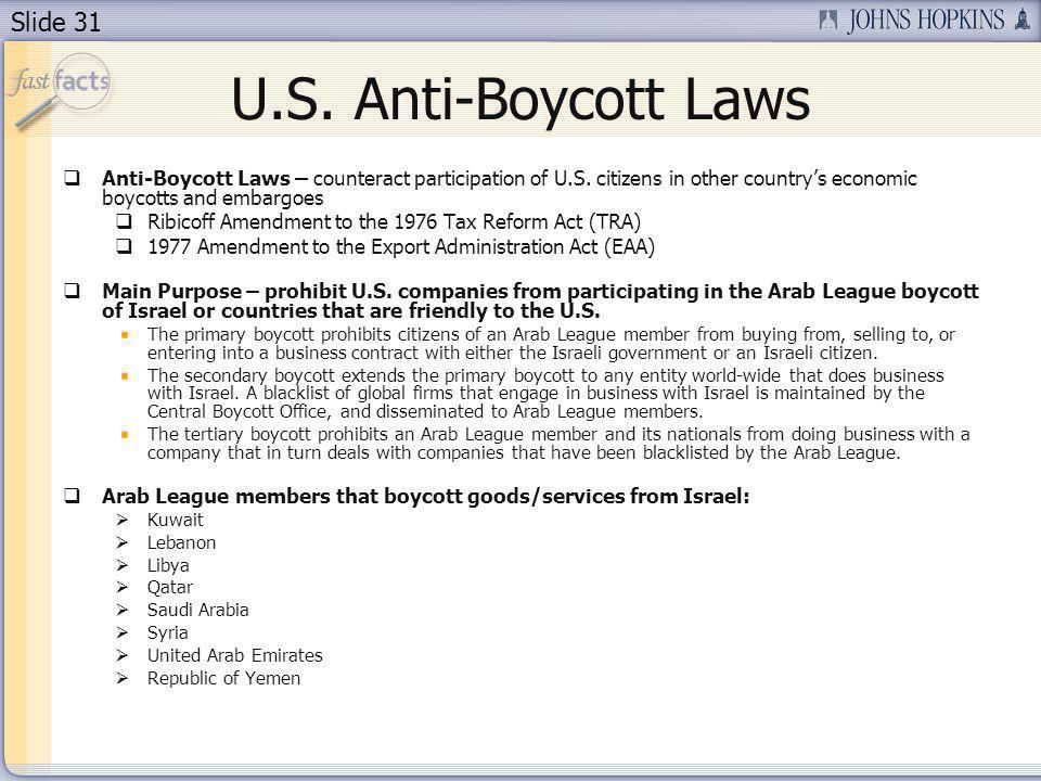 Slide 31 U.S.Anti-Boycott Laws Anti-Boycott Laws – counteract participation of U.S.