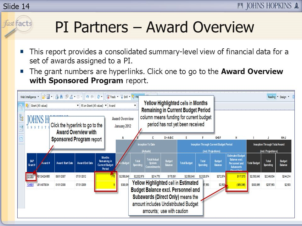 Slide 14 PI Partners – Award Overview This report provides a consolidated summary-level view of financial data for a set of awards assigned to a PI.