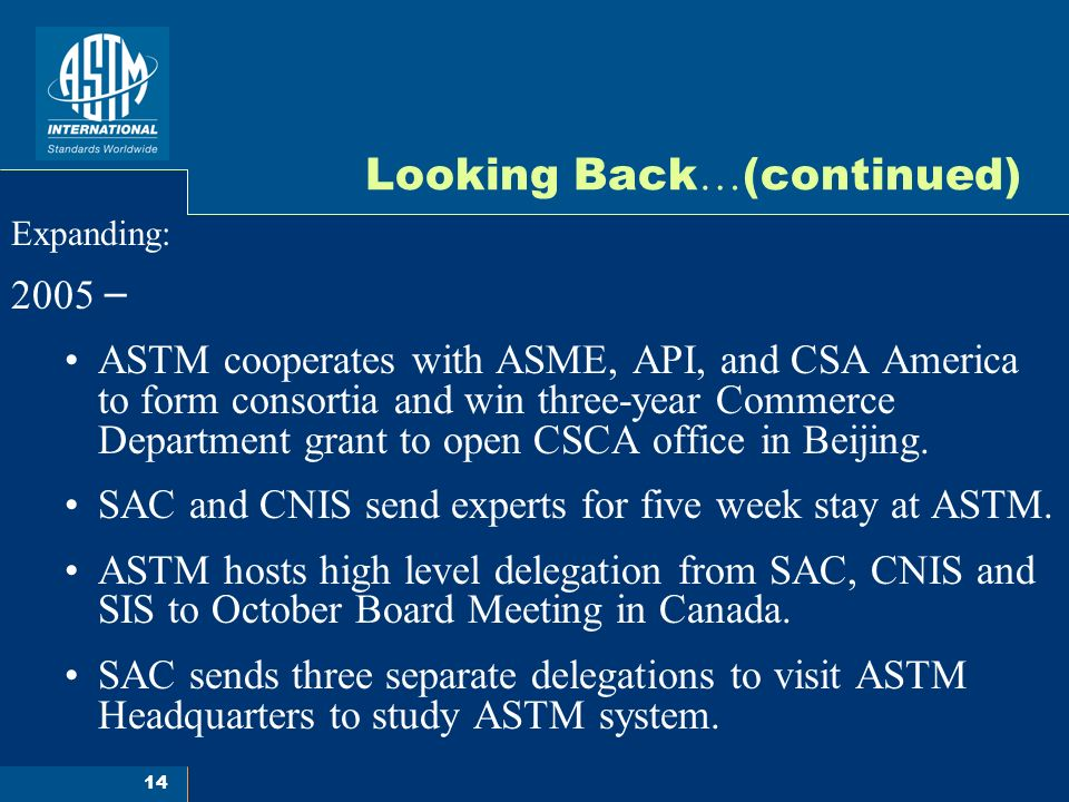 14 Looking Back … (continued) Expanding: 2005 – ASTM cooperates with ASME, API, and CSA America to form consortia and win three-year Commerce Department grant to open CSCA office in Beijing.