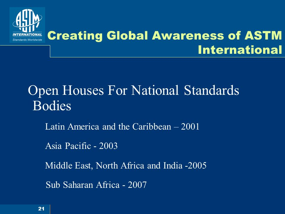 21 Creating Global Awareness of ASTM International Open Houses For National Standards Bodies Latin America and the Caribbean – 2001 Asia Pacific - 2003 Middle East, North Africa and India -2005 Sub Saharan Africa - 2007