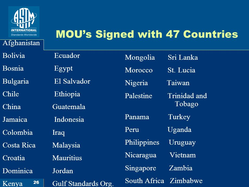 26 MOUs Signed with 47 Countries Afghanistan Bolivia Ecuador Bosnia Egypt Bulgaria El Salvador Chile Ethiopia China Guatemala Jamaica Indonesia Colombia Iraq Costa Rica Malaysia Croatia Mauritius Dominica Jordan Kenya Gulf Standards Org.