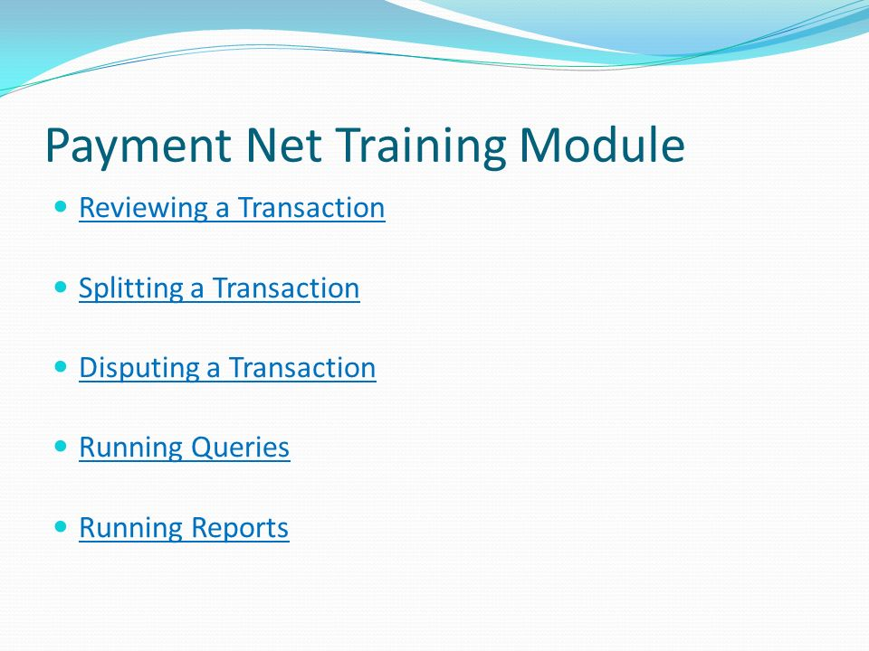 Payment Net Training Module Reviewing a Transaction Reviewing a Transaction Splitting a Transaction Disputing a Transaction Running Queries Running Re