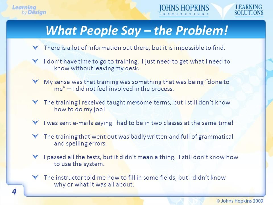 What People Say – the Problem.