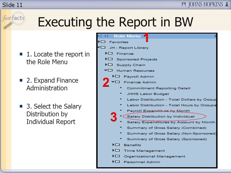 Slide 11 Executing the Report in BW 1. Locate the report in the Role Menu 2.