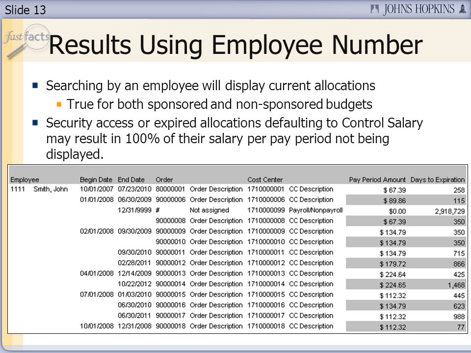 Slide 13 Results Using Employee Number Searching by an employee will display current allocations True for both sponsored and non-sponsored budgets Security access or expired allocations defaulting to Control Salary may result in 100% of their salary per pay period not being displayed.