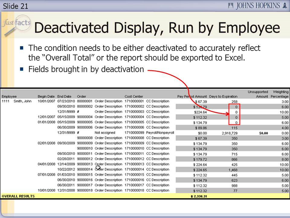 Slide 21 Deactivated Display, Run by Employee The condition needs to be either deactivated to accurately reflect the Overall Total or the report should be exported to Excel.